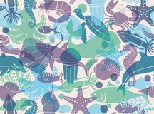 Seamless background with marine life. Vector illustration Royalty Free Stock Image