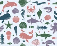 Seamless background with marine life. Vector illustration Stock Photos
