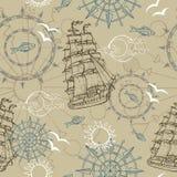 Seamless background with marine symbols Stock Photos