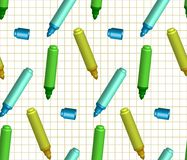 Seamless background with markers. On a checkered background. There is a variant in the Stock Photo