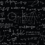 Seamless background with math formulas and graphics on black stock illustration