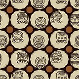Seamless background with Maya calendar named days and associated glyphs Stock Photography