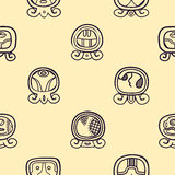 Seamless background with Maya calendar named days and associated glyphs Royalty Free Stock Photos
