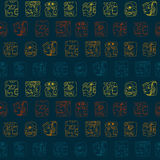 Seamless background with Maya head numerals glyphs Royalty Free Stock Photography