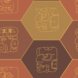 Seamless background with Maya head numerals glyphs Stock Images