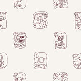 Seamless background with Maya head numerals glyphs Stock Photo