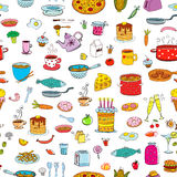 Seamless background meal and ware in doodle style. Stock Image