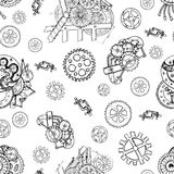 Seamless background with mechanical parts, cogs and gears Stock Photography