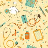 Seamless background with medical instruments and equipment Royalty Free Stock Image