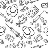 Seamless background of medical items Stock Photos