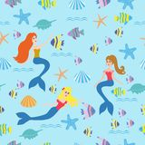 Seamless background with mermaids, fish Stock Photography