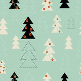 Seamless background on Merry Christmas and new year. The depicts a Christmas tree different design and size on a blue background Stock Photo