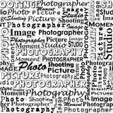 Seamless background with with messages words on the topic of pho. Tography Royalty Free Stock Image