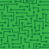 Seamless background with microcircuit. Seamless square background with large green microcircuit Royalty Free Stock Images