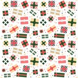 Seamless background with modern color christmas and new year gift boxes. Top view on present boxes. Pattern for your design and print. Vector royalty free illustration