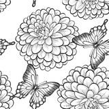 Seamless background with monochrome black and white butterflies and dahlias. Hand-drawn contour lines and strokes. Royalty Free Stock Photography
