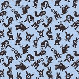 Seamless background with monsters and aliens blue.  royalty free illustration