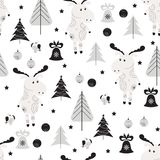 Seamless background with moose. Seamless pattern with moose, bullfinch and trees in Scandinavian style. Christmas background in black and white colors Royalty Free Stock Photos