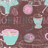 Seamless background with morning tea Stock Photo