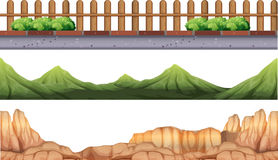 Seamless background with moutains and fence. Illustration Royalty Free Stock Photography