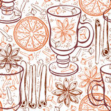 Seamless background with mulled wine and spices. Hand-drawn vect Stock Photo