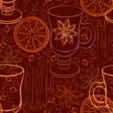 Seamless background with mulled wine and spices. Vector illustra Stock Photo