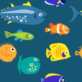 Seamless background with multi-colored cute marine fish Stock Photo