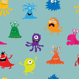 Seamless background with multi-colored funny characters Stock Photo