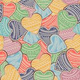 Seamless background with multi-colored hearts with ornaments. Vector illustration. Royalty Free Stock Images