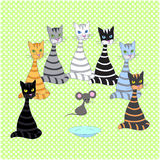 Seamless background with multicolored cats. Hand drawing, vector Stock Photography