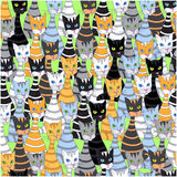Seamless background with multicolored cats. Hand drawing, vector Stock Photo