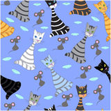 Seamless background with multicolored cats. Hand drawing, vector Royalty Free Stock Image