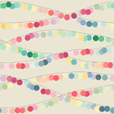 Seamless background with multicolored circle garlands. Vector illustration Royalty Free Stock Photography