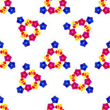 Seamless background with multicolored flowers, triangular shape. On white background Stock Image