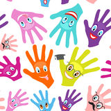 Seamless background multicolored hands Royalty Free Stock Photo