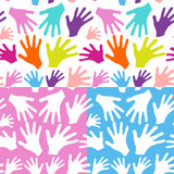Seamless background multicolored hands Royalty Free Stock Image