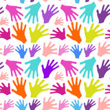 Seamless background multicolored hands Stock Photography
