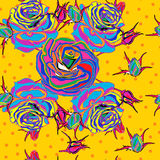 Seamless background. Multicolored roses on a yellow background. pop art style Stock Image