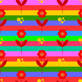 Seamless  background with multicolored stripes and flowers Royalty Free Stock Photography