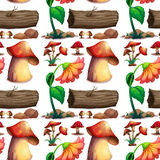 Seamless background with mushroom and logs Stock Image