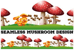 Seamless background with mushrooms on the lawn Stock Photos