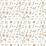 Seamless background with music notes and signs Stock Image