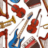 Seamless background with Musical instruments. Accordion, violin, bass guitar. hand-drawn illustration. accordion, violin, bass guitar Royalty Free Stock Images