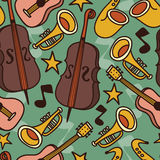 Seamless background with musical instruments Royalty Free Stock Photography
