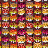 Seamless background with muzzle of cats on brown background.