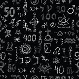 Seamless background with mystic symbols on black Royalty Free Stock Photography