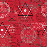 Seamless background with mystic symbols on red. Seamless pattern with mystic symbols and pentacle on red background. Halloween illustration. Signs are not vector illustration