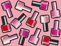 Seamless background with nail polishes Royalty Free Stock Images