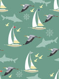 Seamless background with nautical elements Stock Photos