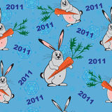 Seamless background with New Year rabbits Royalty Free Stock Photo